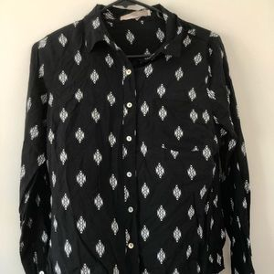 Forever 21 Black and White Long Sleeve Blouse
